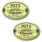 PAIR Distressed Aged Established 1975 Aged To Perfection Oval Design Vinyl Car Sticker 70x45mm Each